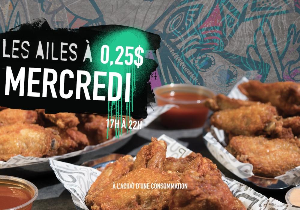 Les ailes à 0.25$